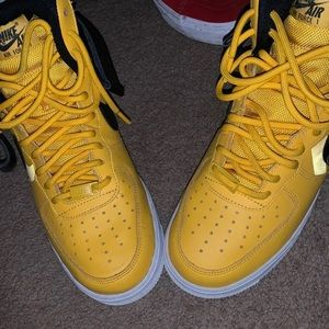 Yellow high top Air Force ones